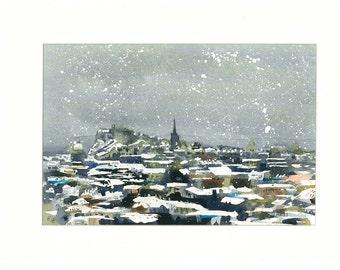 High Quality Print - Snowy Edinburgh