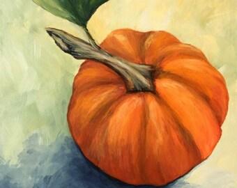 """Little Pumpkin 6"""" x 6"""" Original Fall Still Life Painting by Torrie Smiley"""
