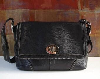 COACH Handbag Black Leather Crossbody Messenger Satchel Bag
