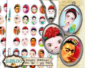 Digital collages FRIDA HANDPAINTING 30x40mm oval clipart romantic for pendant magnet and craft instant download printable paper - ov127