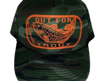 Out For Trout Green Camouflage Camo Snapback Mesh Trucker Hat Cap Fishing Fly