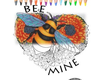 Coloring book for Adults , coloring page, Valentine's Day