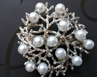 Silver Pl Vintage  Style Made in France Hair Clip Filigree White pearls
