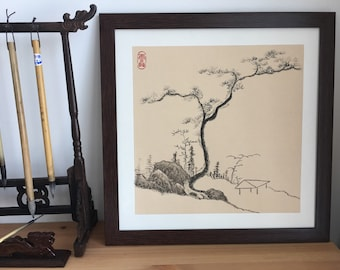Original Chinese Landscape Painting with Brush and Ink on Paper