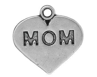 """5 Pieces Antique Silver """"Mom"""" Carved Heart Charms"""