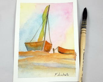 Watercolor, little picture with sail boat on sunset, copy of author, pastel colors, gift idea for sailors, boys bedroom decoration, nursery.
