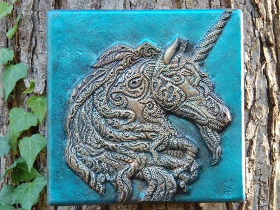 Unicorn Art Stone Wall Plaque Unicorn Fantasy Garden