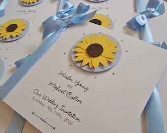 Personalised Handmade Sunflower Wedding Invitation Sample With Ribbon