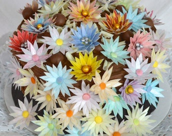 Edible Spring Daisy 3D Flowers x 100 Pastel Garden Daisies Mix Wafer Paper Floral Wedding Cake Decorations Birthday Cupcake Toppers Cookies