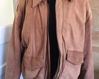 Vintage tan leather bomber jacket lined- size medium