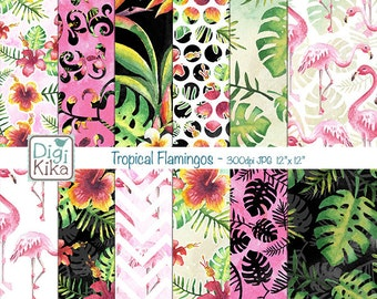 Tropical Flamingos Digital Papers, Summer Scrapbook Paper - Summer Papers - Flamingos Background - INSTANT D