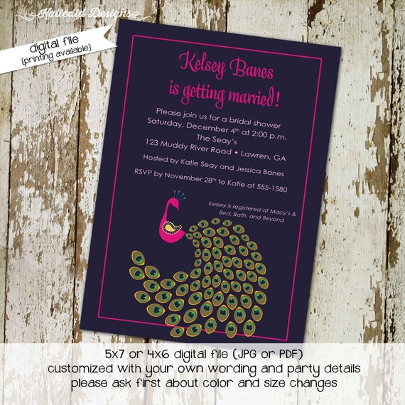 peacock invitation Couples shower bridal coed rehearsal dinner stock the bar I do BBQ engagement party eggplant purple navy | 304 Katiedid