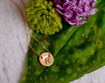 Simple Initial Necklace, Dainty Disc Necklace, Tiny Initial Necklace, Delicate Initial Necklace, Tiny Gold Initial, Small Monogram Initial