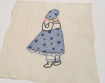 Vintage feedsack quilt square circa 1950s  baby bonnet quilt square  Blue  Dress