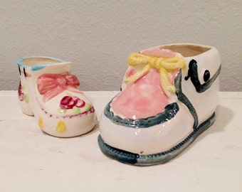 Porcelain Baby Shoe Planters, Pink Bow Baby Shoe Planter, Baby Nursery Decor