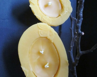 100% Beeswax Candles Gift Set-The Purist, Unscented Candles, Hypoallergenic, Eco-friendly Candles, Natural Yellow color