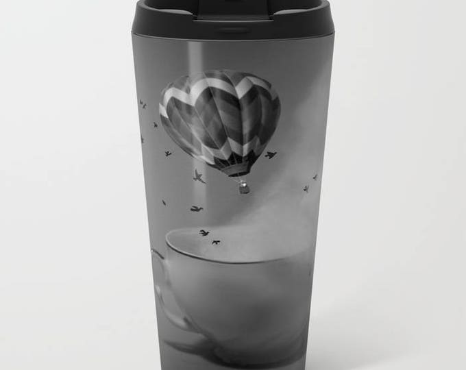 Travel Mug Metal - Hot Air Balloon - Tea Cup - Fantasy - Coffee Travel Mug -  Hot or Cold - 15 oz Mug - Stainless Steel - Made to Order