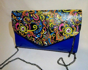 Woman's blue, fold over envelope clutch purse whit decupage,girli,reinbow,romantic details,vegan lether hand sewn,evening,every day bag