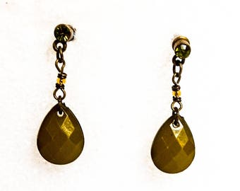 Vintage Rhinestone Drop Earrings  Chain Post Earrings  Lucite