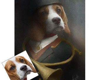 Pet portraits from your Dogs photograph. Custom Pet Art .A Bespoke Portrait of your beloved pet with a difference.(REF:1036)
