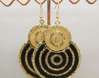 lovely enamel earrings beige and black sequins