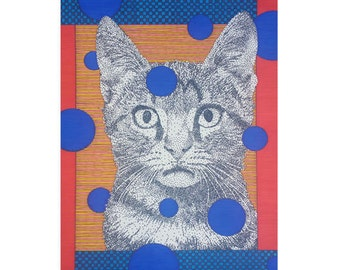 Kitty Cat Card, Blank 5x7 Greeting, Kitten Lover Gift, Blue Orange, Tabby Cat, Pet Birthday, Animal Stationery, Modern Art, Thank You Card