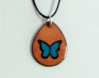 Black and Blue Morpho Butterfly Pendant Necklace