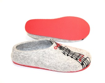 Felted Wool slippers, Boiled Wool Clogs, Wool Shoes For Women, Felt Slippers, Woolen Slippers, Eco Wool Shoes, Woolen Shoes,  Music Gift
