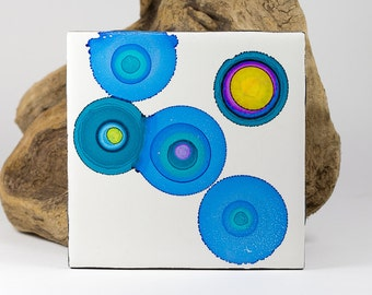 Ceramic tile - Original Alcohol Ink Painting - Alcohol ink coaster - bright colors painting - One of a kind art - Abstract art - Fluid art