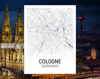 Cologne Germany Map Print, City Map, Black and White, City Map Print, Travel Map, Map Art, Map Poster, Wall Art, Home Decor