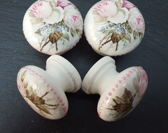Set of 4 Vintage Style Shabby Chic Handmade Floral Pink Roses Drawer Knobs Pulls