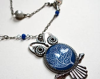 OWL necklace, white tree CCH003A