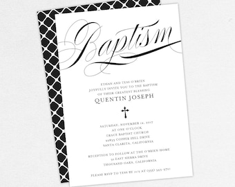 Baptism Invitation, Christening Invitation, Boy Baptism, Neutral Baptism, Printable Baptism Invitation, Printed, PDF, Modern, Black, Quentin