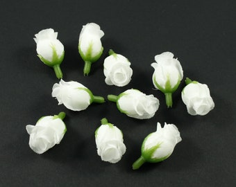 Set of 10 white button flowers without stem rose - white
