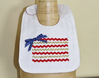 Patriotic/Fourth of July/American Baby Girl Bib