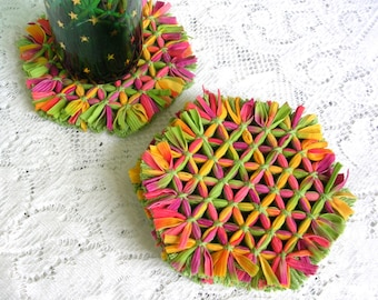 Tropical Colors Coaster Set - Yellow, Green, Pink Fringed Hexagon Hand Woven Thick Drink Coasters - Housewarming Gift - Modern Home Decor