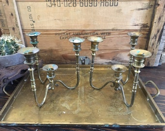 Brass candelabra set 4 holders