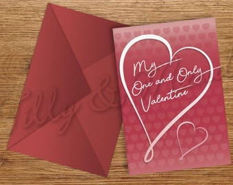 My One & Only Valentine Greeting Card A5 Printable INSTANT DOWNLOAD