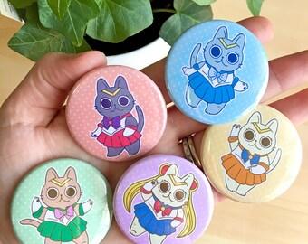 Sailor Moon Cat Buttons // 1.75 inch, Sailor Senshi Kitties, Mars, Jupiter, Mercury, Venus, anime, kawaii, cute, pin, badge, ita bag,