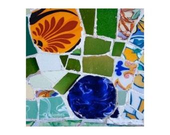 Colorful art, Gaudi tile, Barcelona art, spanish Mosaic tile, abstract, Fine Art Photography
