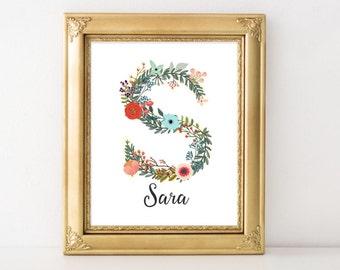 Personalized Printable Art, Name art Custom Name printable art, Baby Girl Nursery decor, Nursery art, Baby Girl Nursery Print, floral flower