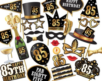 85th birthday Photo Booth props - Instant Download printable PDF. Eighty fifth birthday party Photo Booth supplies. 85 Today - 0226