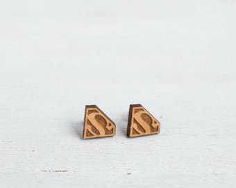 Superman Wood earrings  Women wooden jewelry, Comicone gift for her