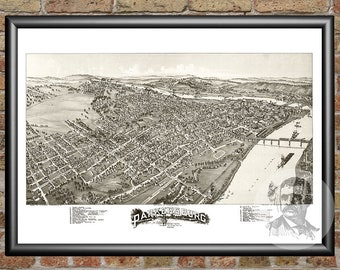 Parkersburg, West Virginia Art Print From 1899 - Digitally Restored Old Parkersburg, WV Map - Perfect For Fans Of West Virginia History