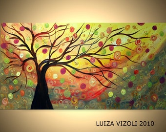 Original Modern Abstract Fantasy Landscape Large Oil Painting FALL WIND and MUSIC by Luiza Vizoli large canvas
