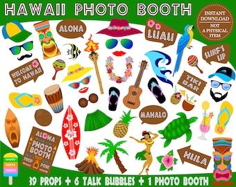 PRINTABLE Hawaii Photo Booth Props–Luau Props-Hula Girl-Hawaiian Party Props-Tiki Props-Hawaii Wedding Props-Travel Props-Instant Download