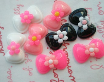 Small MIXED bow with flowers 8pcs
