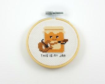 This is my jam cross stitch pattern, jam PDF pattern, jam cross stitch, guitar cross stitch, music cross stitch, food cross stitch