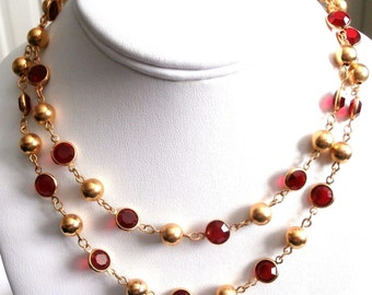 "Swarovski Bezel Set Bright Red Crystal & Gold Beads Necklace 32""  (D)"