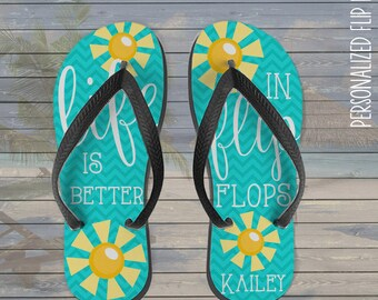 personalized flip flops - life is better in flip flops personalized custom flip flops